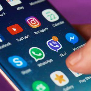 New york, USA - May 22, 2017: Viber message on smartphone display close-up